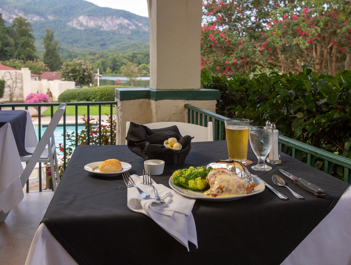 Located inside the 1927 Lake Lure Inn & Spa, the Veranda Restaurant serves elegant meals along with views of Lake Lure and Hickory Nut Gorge. The historic, 69-room hotel at the heart of area attractions is popular for weddings, conferences or just lounging by the pool.
