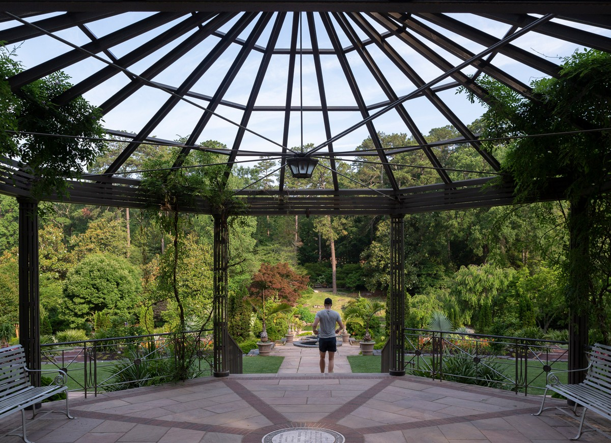 From this pergola and the steps below, visitors have a vantage point to view the vast majority of the Historic Gardens.