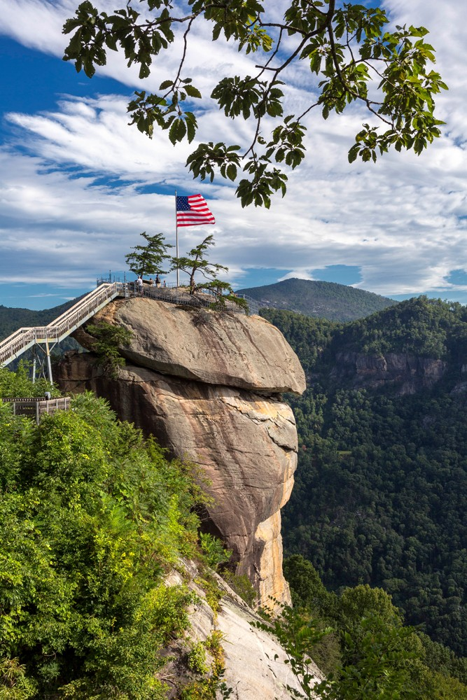 The 535-million-year-old cliff at Chimney Rock State Park at is a must-see destination for those looking to connect with nature. The park is part of the Hickory Nut Gorge, a 14-mile-long canyon that cuts through the Blue Ridge Mountains to communities of Chimney Rock and Lake Lure. Visitors can climb the 500 steps to the top of the granite rock or take an elevator. The 6,956-acre park also offers hiking trails, waterfalls, rock-climbing, horseback-riding and educational programs.