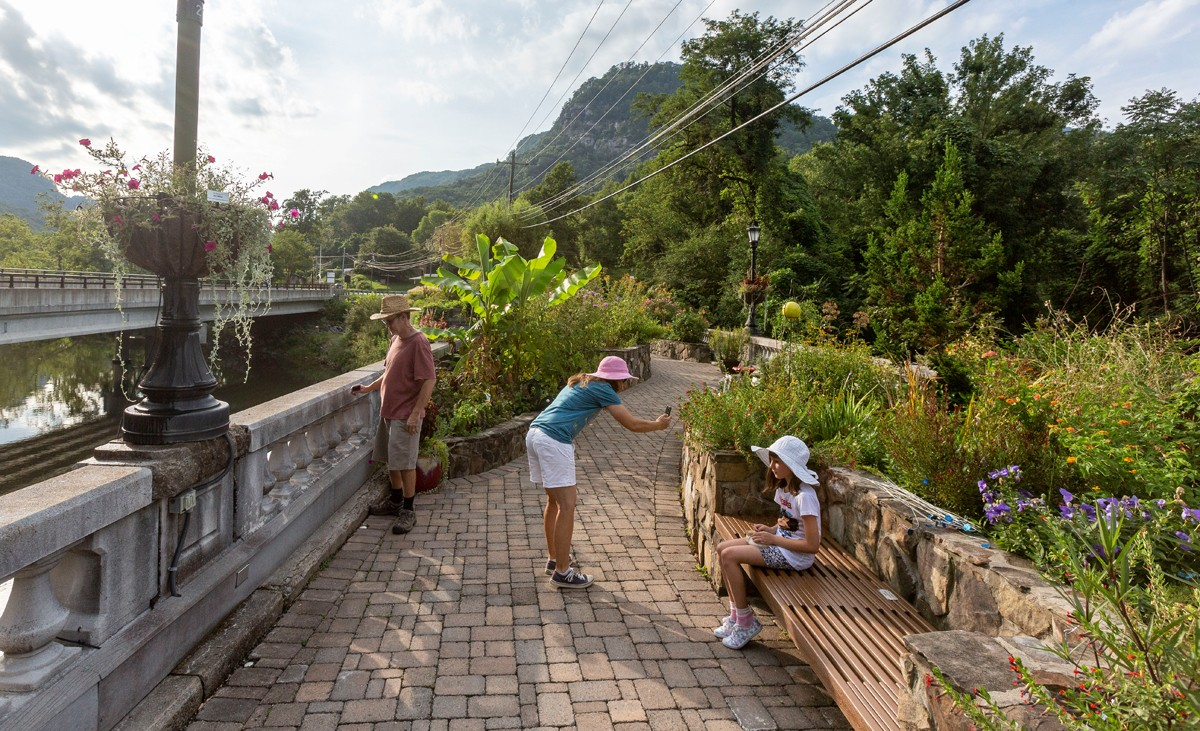 A historic bridge spanning the Rocky Broad River, scheduled for demolition in 2011, remains open, but only to foot traffic visiting its flowering gardens. The Lake Lure Flowering Bridge was created by a group that campaigned to turn the structure into a garden and pedestrian walkway.
